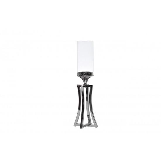 Стеклянный подсвечник серебро 12х12х51,5 2K153120 в интернет-магазине ROSESTAR фото