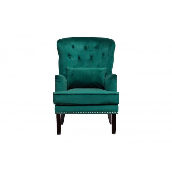 Зелёное кресло бархат с подушкой 77*92*105см 24YJ-7004-07342/1 в интернет-магазине ROSESTAR фото