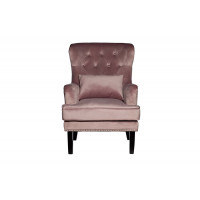 Велюровое кресло с подушкой на деревянных ножках дымчато-розовое 77*92*105см 24YJ-7004-06418/1