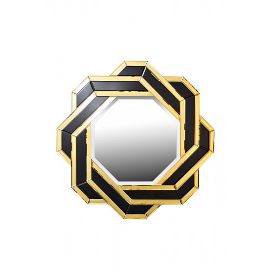 Декоративное зеркало чёрно-золотое 900х900х21 KFE7H018 в интернет-магазине ROSESTAR фото