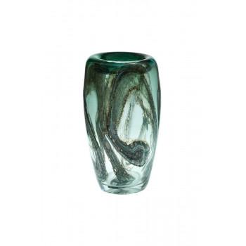 Стеклянная зеленая ваза H34xD19,5 HJ4143-35-Q88