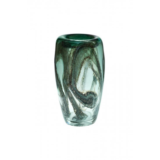 Стеклянная зеленая ваза H34xD19,5 HJ4143-35-Q88  в интернет-магазине ROSESTAR фото