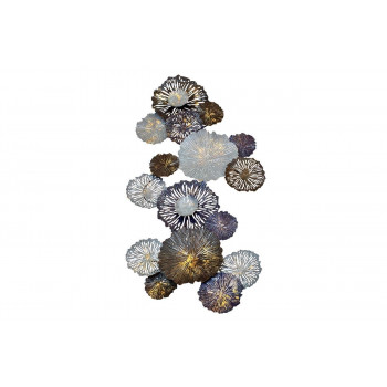 Настенный декор Цветы серо-голубые 134,6*71,1*8,3см 37SM-0696