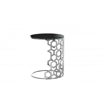 Приставной серебряный столик с чёрным стеклом 50*50*60см 13RXET3043-SILVER