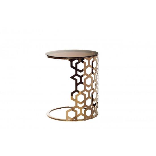 Приставной золотой столик с коричневым стеклом 50*50*60 13RXET3044-GOLD в интернет-магазине ROSESTAR фото