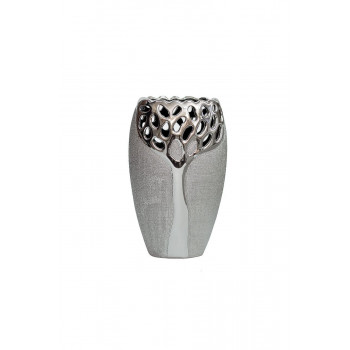 Керамическая серебряная ваза 14х9,5х24 18H2373M-9