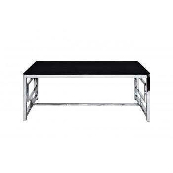 Металлический прямоугольный журнальный столик с чёрным стеклом  60*120*45см GY-CT2051212