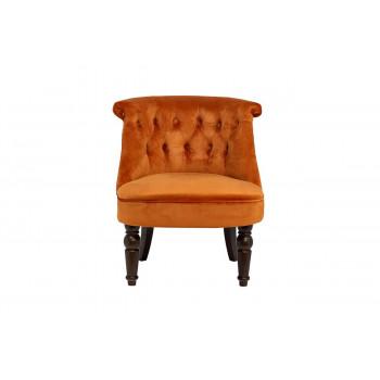 Низкое велюровое терракотовое кресло на деревянных ножках 46*61*70см 24YJ-8044B