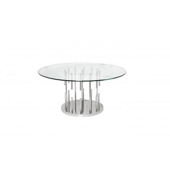 Круглый металлический журнальный столик со столешницей из стекла 100*100*43см GY-CT8089