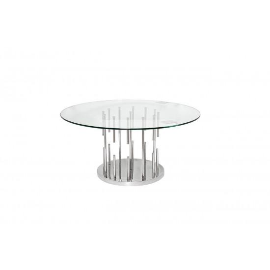 Круглый металлический журнальный столик со столешницей из стекла 100*100*43см GY-CT8089 в интернет-магазине ROSESTAR фото