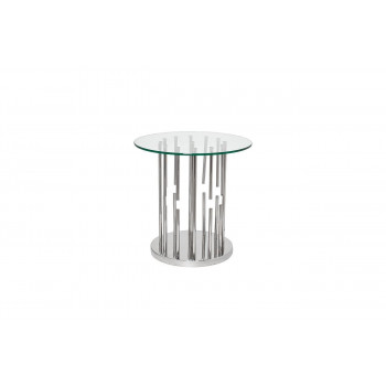 Металлический круглый журнальный столик из нержавеющей стали со стеклом 55*55*55см GY-ET8089
