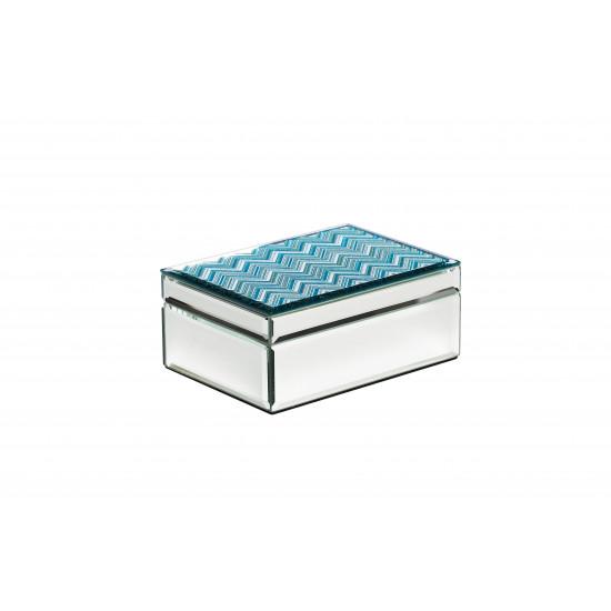 Стеклянная шкатулка голубая 18х13,1х7,5 см 19-OA-450-BM  в интернет-магазине ROSESTAR фото