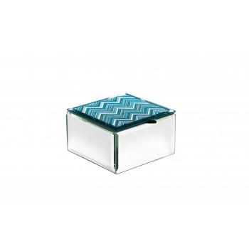 Стеклянная шкатулка голубая 10х10х6,5 см 19-OA-450-BS