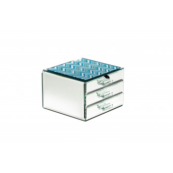 Шкатулка для украшений тройная голубая 15х10,5х15 см 19-OA-450-JB