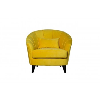 Жёлтое велюровое кресло на деревянных чёрных ножках 93х84х78 ZW-555-06476