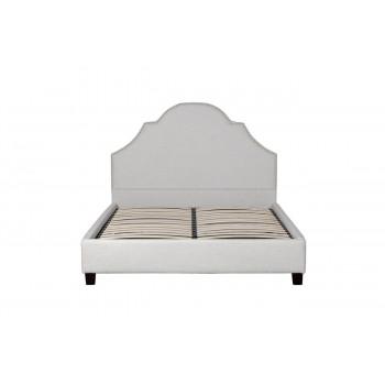 Двуспальная бежевая кровать ткань рогожка 140*160*200см PJB-003