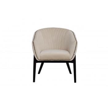 Низкое велюровое кресло на деревянных ножках бежевое 70*68*81см PJC379-PJ634
