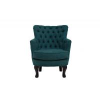 Велюровое кресло на деревянных ножках тёмно-бирюзовое 64*70,5*77см PJC741-PJ618