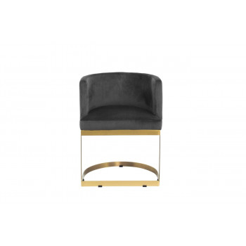 Велюровый стул на металлическом каркасе серо-коричн. 58*52*76см PJJ030-PJ623