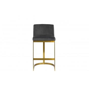 Барный стул на металлических ножках велюр серо-коричневый 49*54*102см PJJ129-PJ623