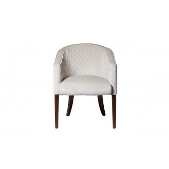 Стеганое велюровое бежевое кресло на деревянных коричневых ножках 60*68*84см FC-32BG