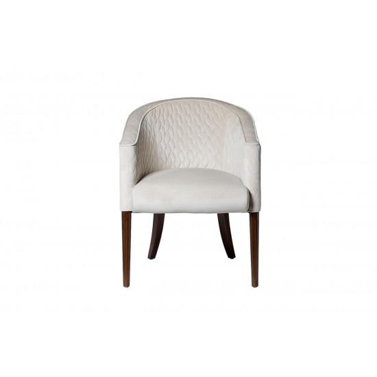 Стеганое велюровое бежевое кресло на деревянных коричневых ножках 60*68*84см FC-32BG в интернет-магазине ROSESTAR фото