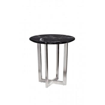 Журнальный столик круглый со столешницей из мрамора на металлическом основании Nero d55х57,2 см 33FS-ET2029-BS