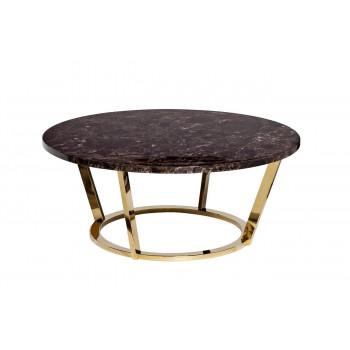 Журнальный столик круглый со столешницей из мрамора на металлическом основании Dark Emperador d100*40,6см 33FS-CT20C05-PG