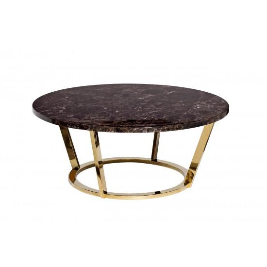 Журнальный столик круглый со столешницей из мрамора на металлическом основании Dark Emperador d100*40,6см 33FS-CT20C05-PG  в интернет-магазине ROSESTAR фото
