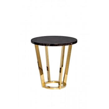 Журнальный столик круглый со столешницей из мрамора на металлическом основании Dark Emperador d55х57,2 см 33FS-ET20C05-PG