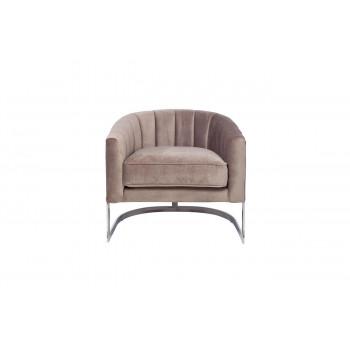 Велюровое кресло на металлическом каркасе серое 77*70*71см ZW-777