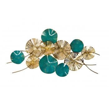 Настенный декор Цветы золотисто-бирюзовые 132,7х69,2х10,8 см 37SM-1111