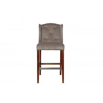 Барный стул велюр с деревянными ножками бежево-серый 54*59,5*114см PJH313-PJ631