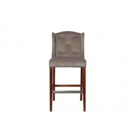 Барный стул велюр с деревянными ножками бежево-серый 54*59,5*114см PJH313-PJ631  в интернет-магазине ROSESTAR фото