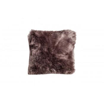 Меховая серая квадратная подушка односторонняя 40х40