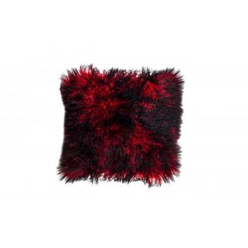 Меховая квадратная подушка красно-черная односторонняя Тибетская овчина 40х40