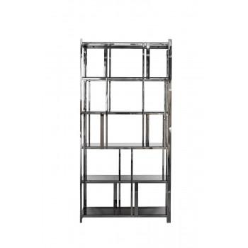 Стеллаж металлический серебряный с чёрным стеклом 100*38*200см 13RXSH3052-SILVER