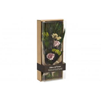 Цветочная композиция Розы сиреневые стабилизированные в коробке 17х41