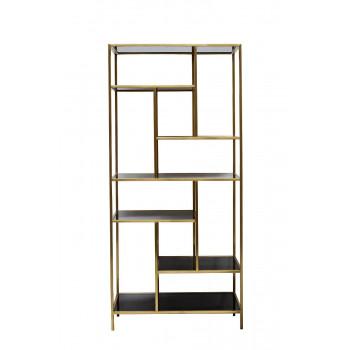 Стеллаж металлический золотой с чёрным стеклом 80*35*180 см 46AS-SH1452-GOLD
