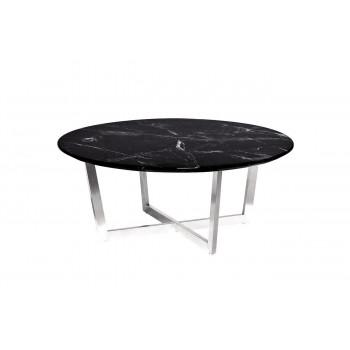 Журнальный столик круглый со столешницей из мрамора на металлическом каркасе Nero d100х40,6 см 33FS-CT2029-BS