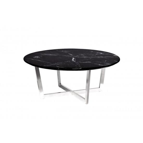 Журнальный столик круглый со столешницей из мрамора на металлическом каркасе Nero d100х40,6 см 33FS-CT2029-BS  в интернет-магазине ROSESTAR фото