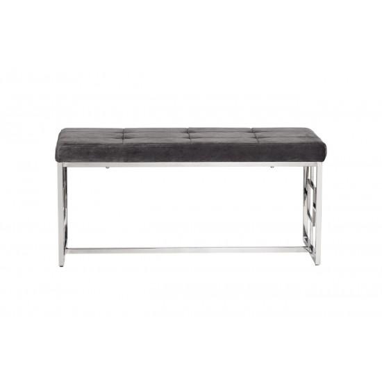 Банкетка металлическая с мягким сидением серая велюр/хром 99*45,5*46см 47ED-BEN005-GR в интернет-магазине ROSESTAR фото