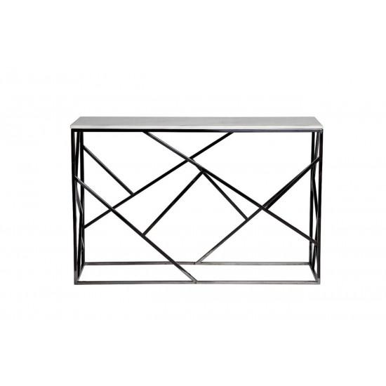 Металлическая консоль из нержавеющей стали с искусственным белым мрамором 120*40*79см 47ED-CST015BLSM в интернет-магазине ROSESTAR фото