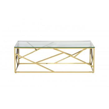Золотой журнальный столик с прозрачным стеклом на металлической основе 120*60*40см 47ED-CT015GOLD