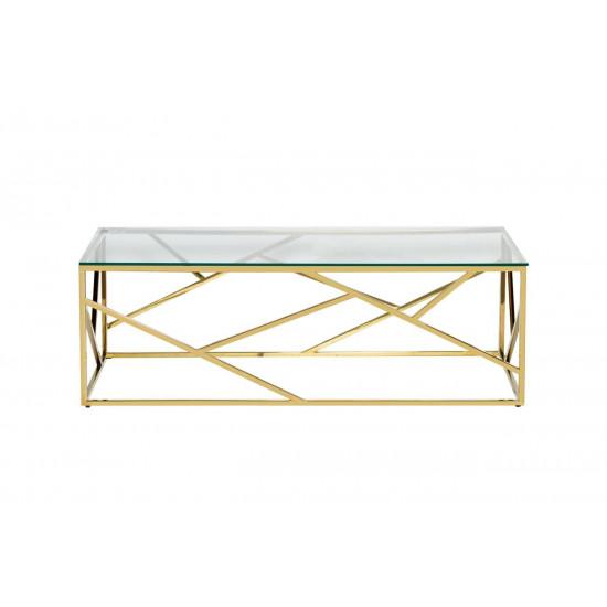 Золотой журнальный столик с прозрачным стеклом на металлической основе 120*60*40см 47ED-CT015GOLD в интернет-магазине ROSESTAR фото