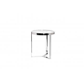 Металлический круглый журнальный столик со стеклом цвет Хром d.50*55см арт. 47ED-ET031
