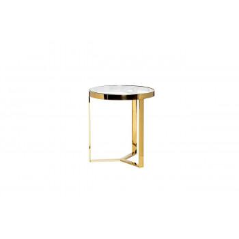 Золотой круглый журнальный столик со стеклом на металлическом каркасе d.50*55см 47ED-ET031GOLD