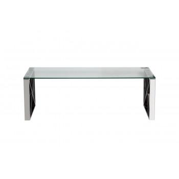 Журнальный столик из нержавеющей стали со стеклянной столешницей 120*60*40см 47ED-CT008
