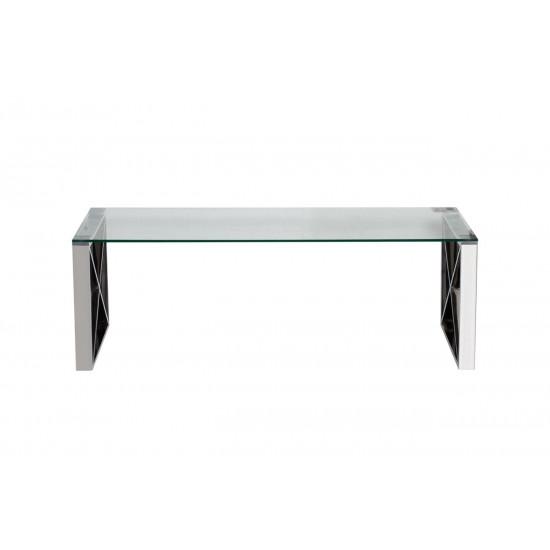 Журнальный столик из нержавеющей стали со стеклянной столешницей 120*60*40см 47ED-CT008 в интернет-магазине ROSESTAR фото