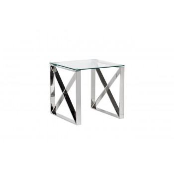 Металлический журнальный столик из нержавеющей стали со стеклом 55*55*55см 47ED-ET008
